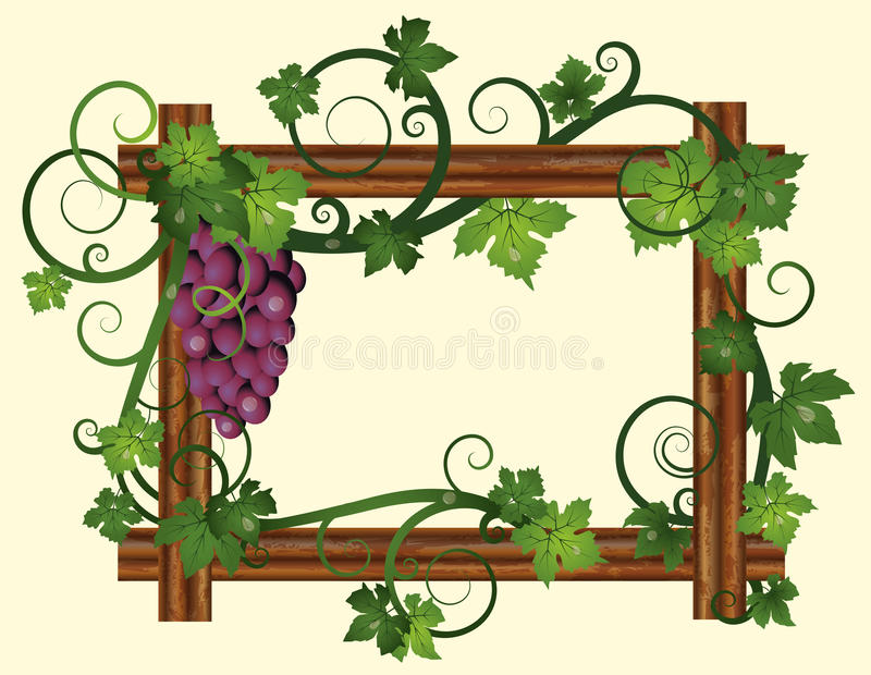 Wooden frame with grapes stock illustration