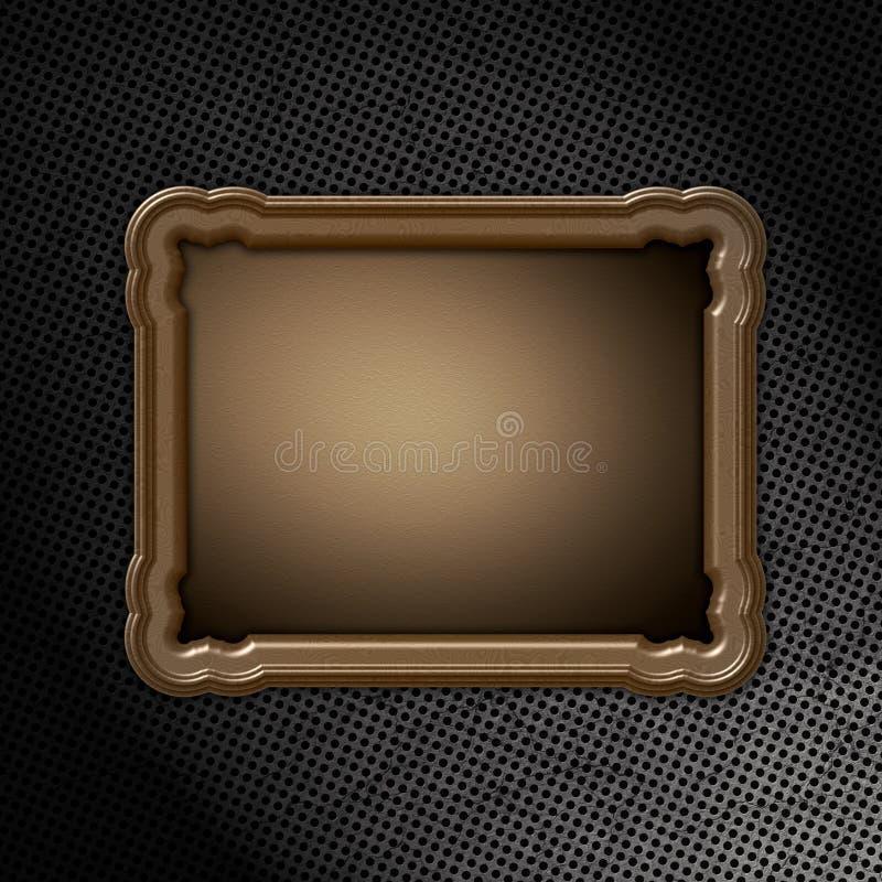 Download Wooden Frame On Grunge Metal Stock Illustration - Image: 23057018
