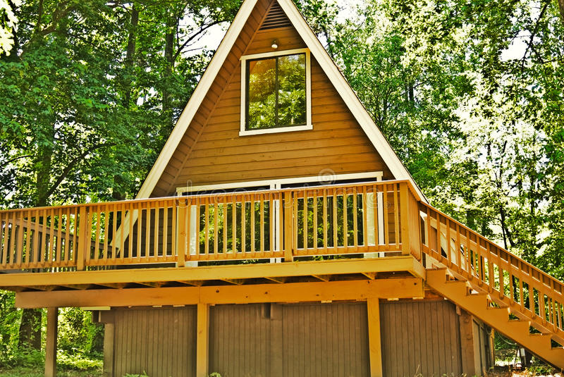 Wooden A-Frame House / Deck Stock Image - Image of glass, sliding ...