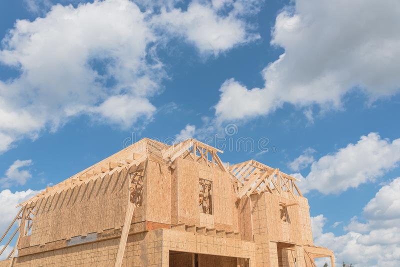 Wooden frame house under construction Pearland, Texas, USA stock image