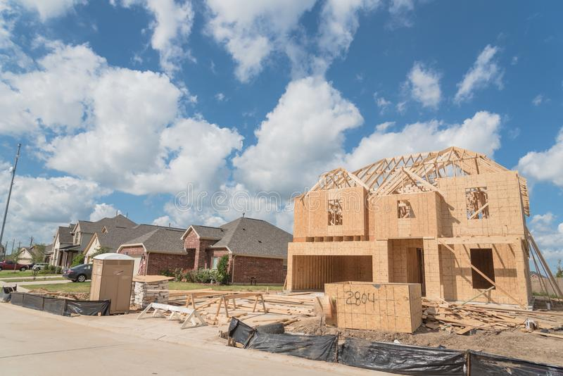 Wooden frame house under construction Pearland, Texas, USA stock photo
