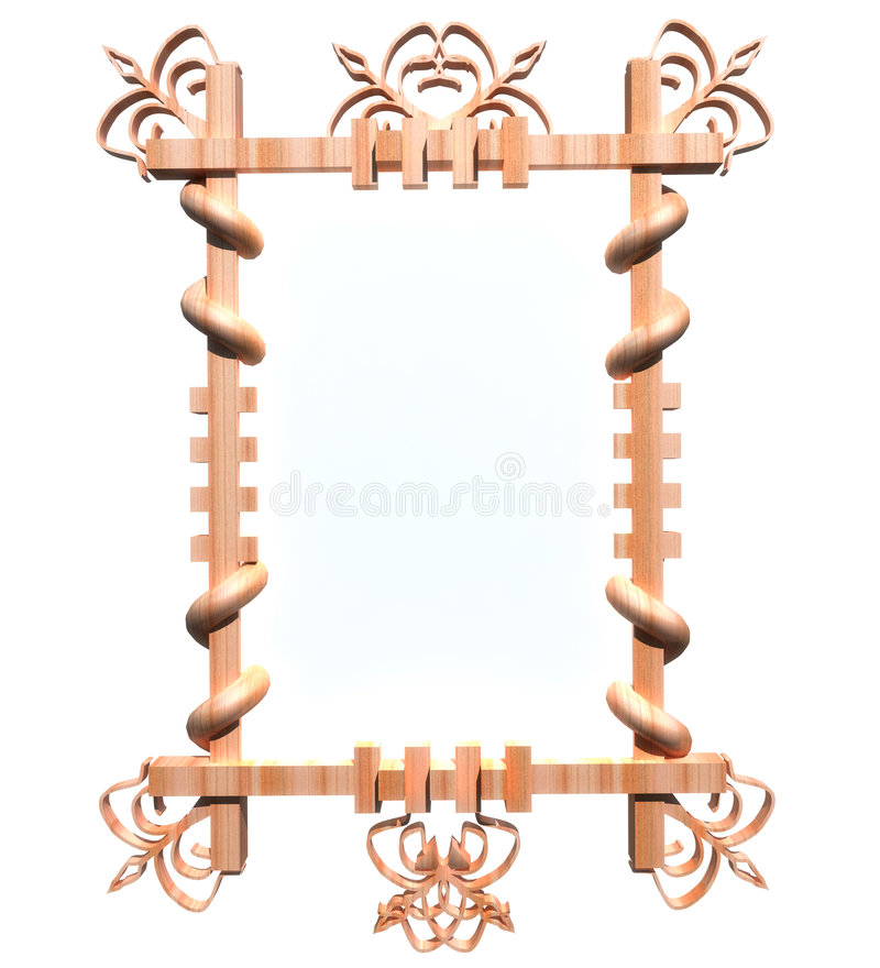 Download Wooden Frame Isolated On White Stock Illustration - Illustration: 6887021