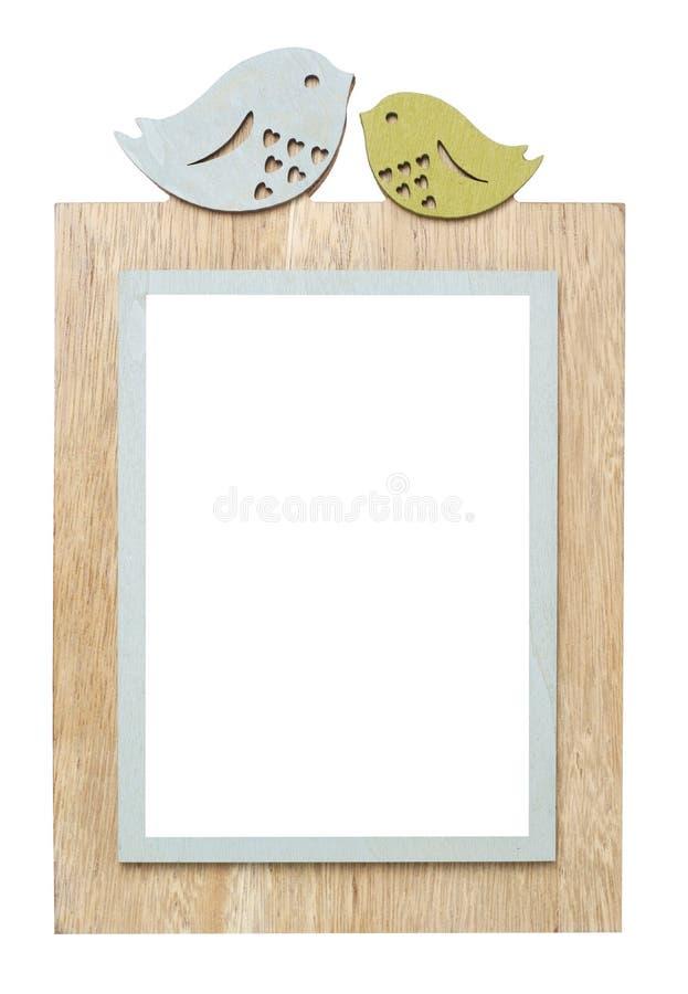 Wooden frame on white stock photos