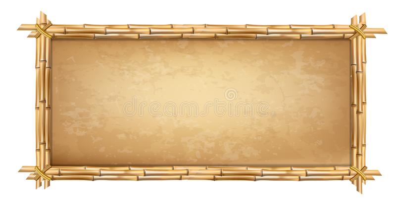 Wooden frame made of brown bamboo sticks with papyrus royalty free illustration