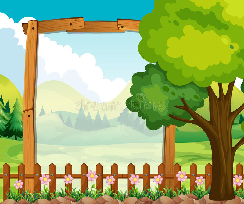 Wooden Frame With Nature Background Stock Vector - Illustration of ...