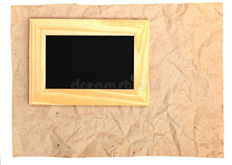 Wooden Frame On Old Paper Royalty Free Stock Image
