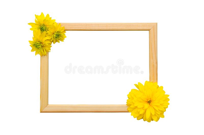 Wooden frame for photos with buds of yellow stock photos