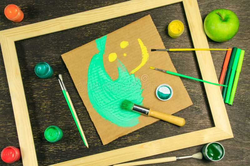 Wooden frame with a smiley royalty free stock photography