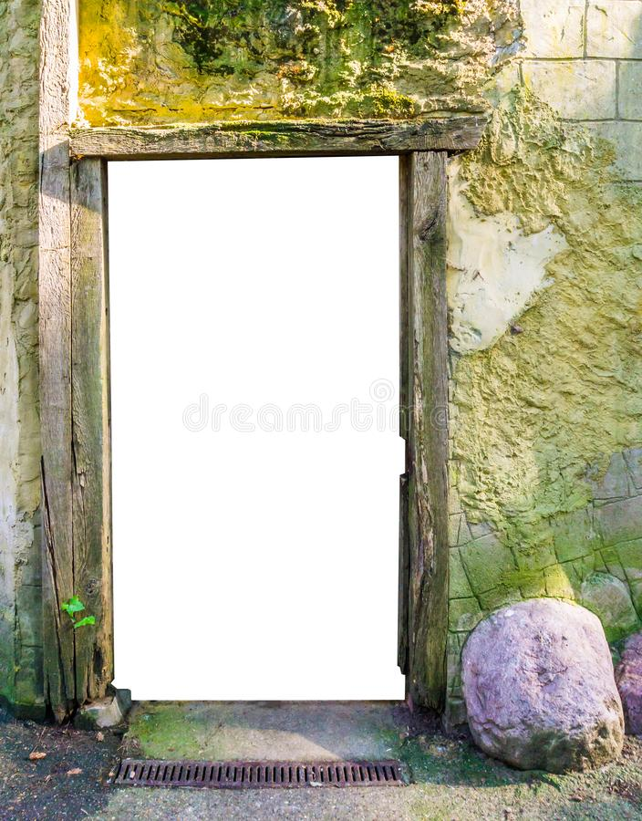 Wooden frame in a stone castle wall with the door cut out to put whatever you like. A wooden frame in a stone castle wall with the door cut out to put whatever stock photos