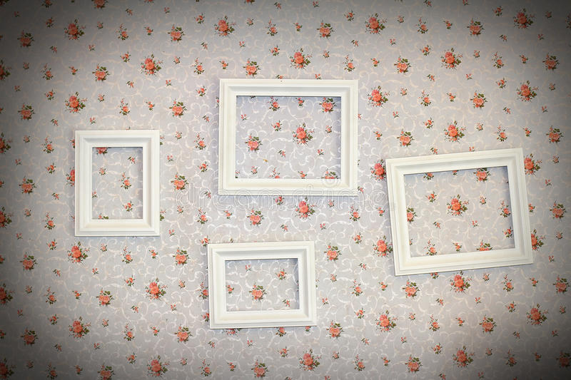 Wooden frame on wall stock images