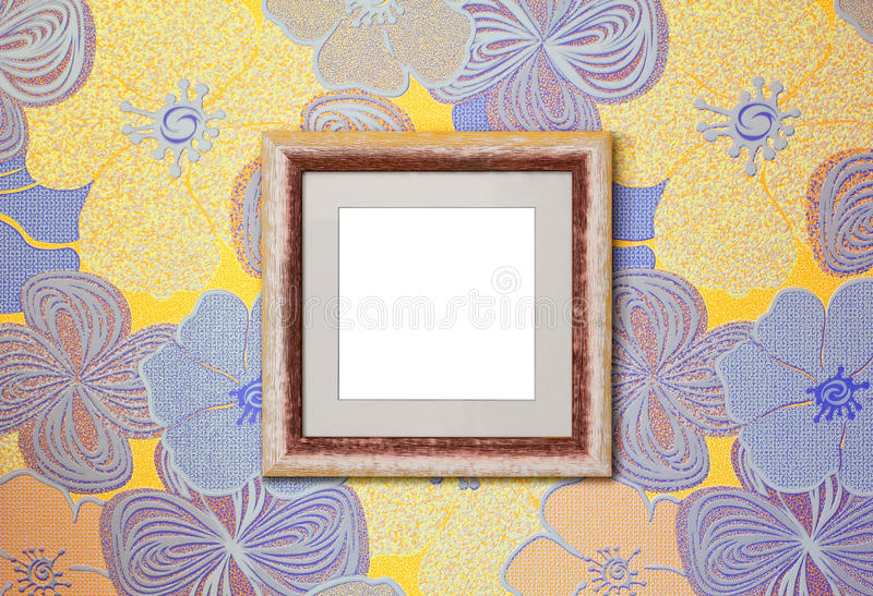 Wooden frame on the wall stock photo