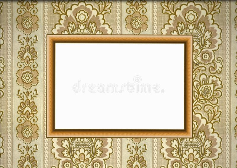 Wooden frame on wallpaper royalty free stock image
