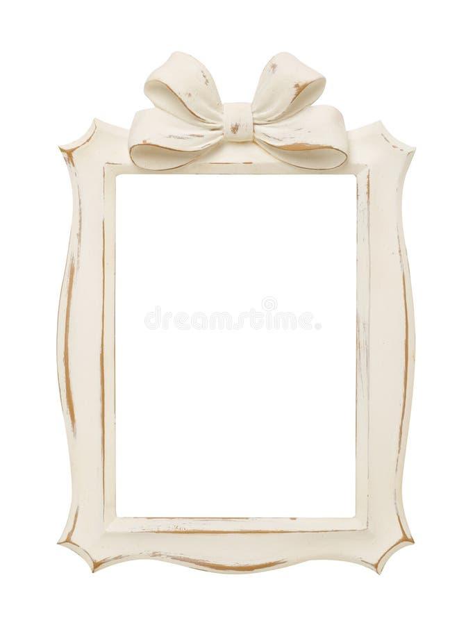 Wooden frame on white stock photo