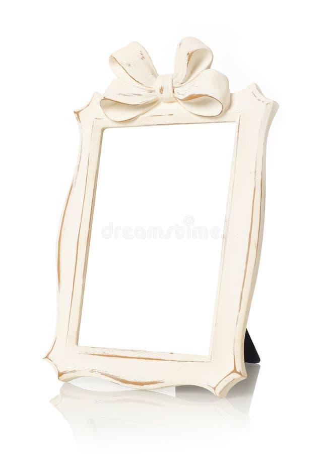 Wooden frame on white stock images