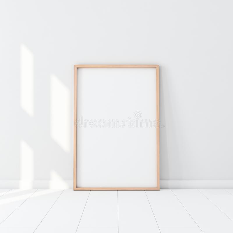 Free Wooden Frame With Poster Mockup Standing On The White Floor Stock Photography - 157324522