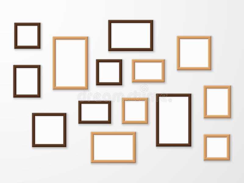 Wooden frame. Wood blank picture frames in different sizes on wall. Museum gallery mockup design, advertising image vector illustration