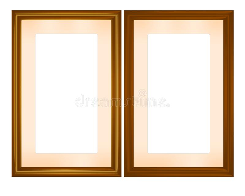 Wooden frames, cdr vector. Set of two rectangle wooden frames, vector format vector illustration