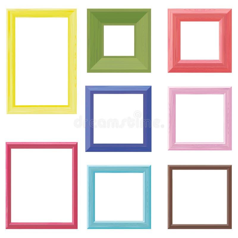 Wooden frames color set. Set of eight wooden frames different colors vector illustration