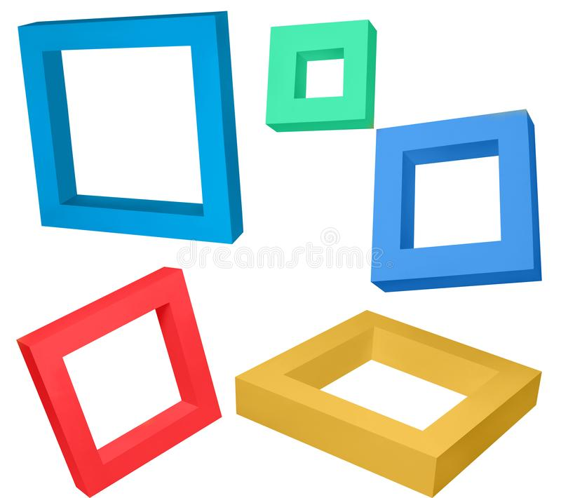 Wooden frames colourful flying objects. White background can be used for creations stock illustration