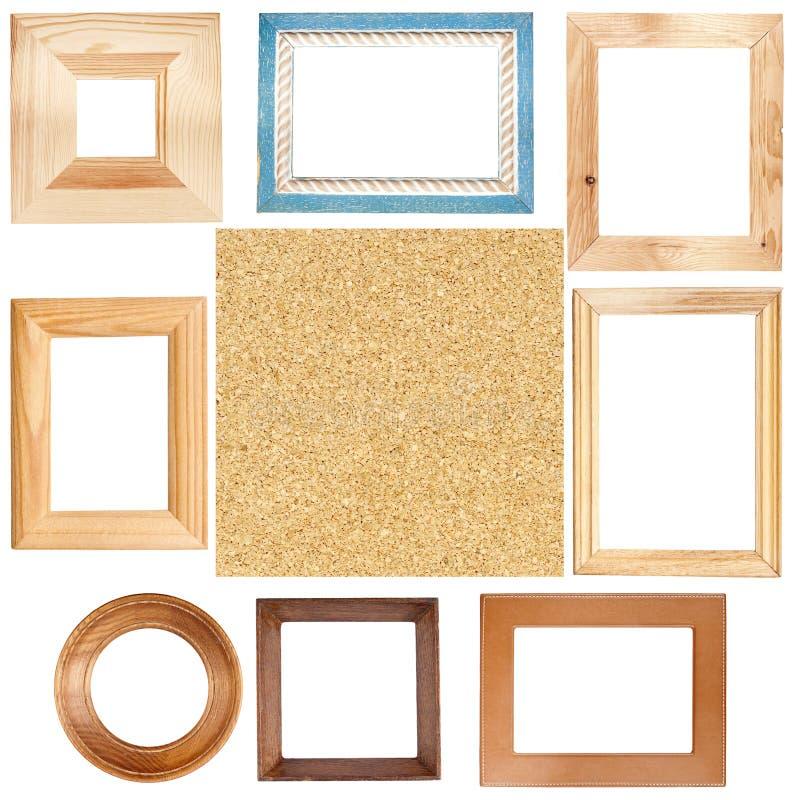Wooden frames and cork board texture stock photos