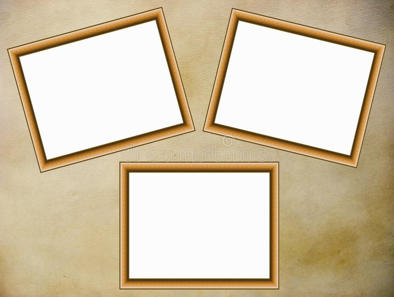 Wooden frames on parchment background royalty free stock photography