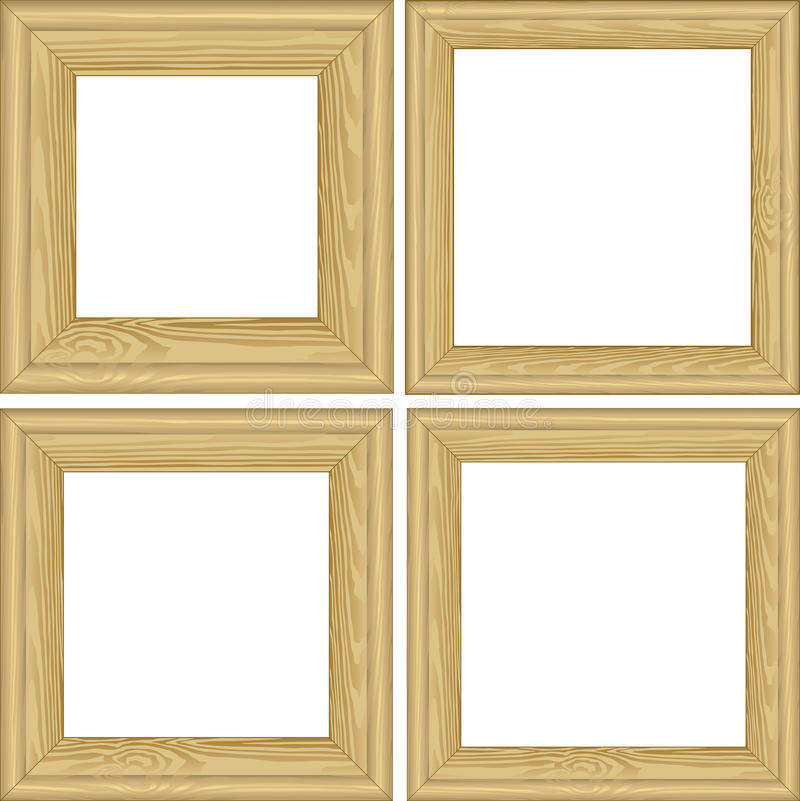 Wooden frames. Set of wooden frames with transparent space insert for picture royalty free illustration