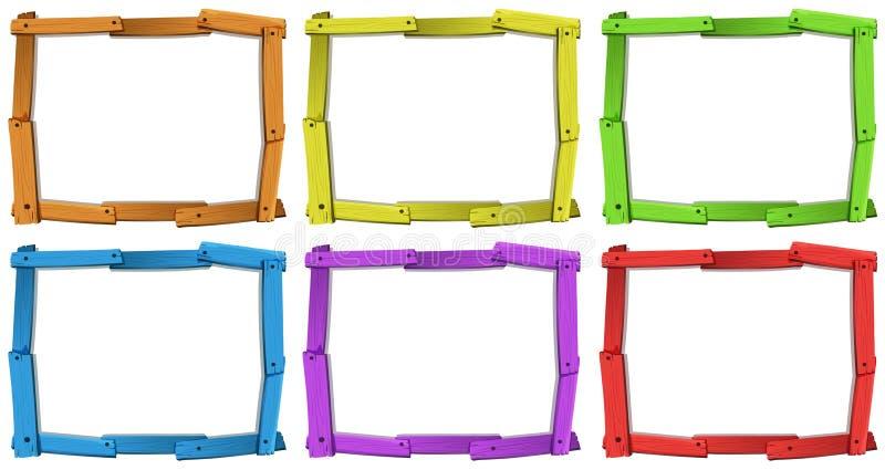 Wooden frames. Six different colors of wooden frames vector illustration