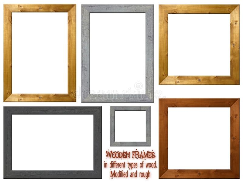 Wooden Frames in various types of Wood - Modified and Rough. Wooden photo and art frames in different formats and different Woods. The types of wood are stock illustration