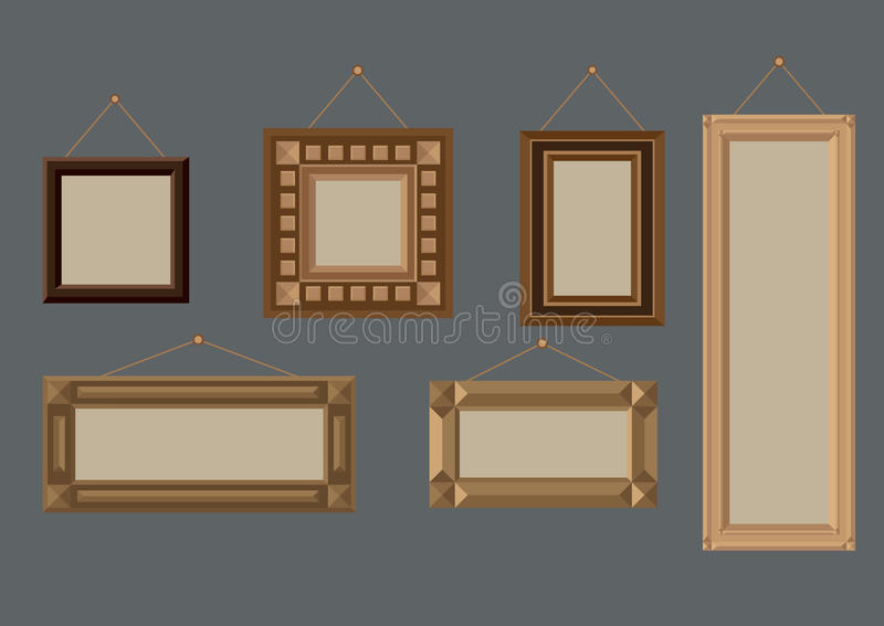 Wooden frames. Vector illustration of six different wooden frames on the wall stock illustration