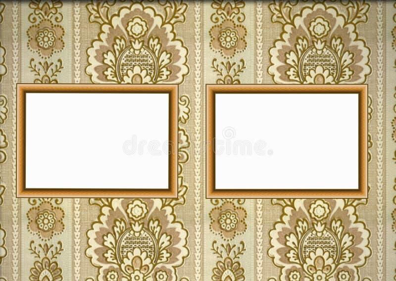 Wooden frames on wallpaper stock images