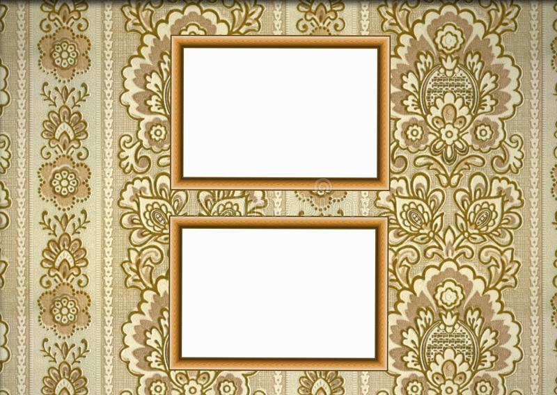 Wooden frames on wallpaper background stock photo
