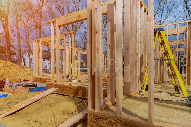 Wooden framing of a home, full frame new construction of a new house framing of a home, full frame stock photography
