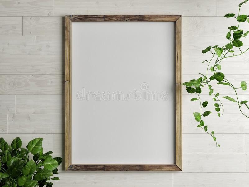 Wooden free frame with green plant on wooden wall stock illustration