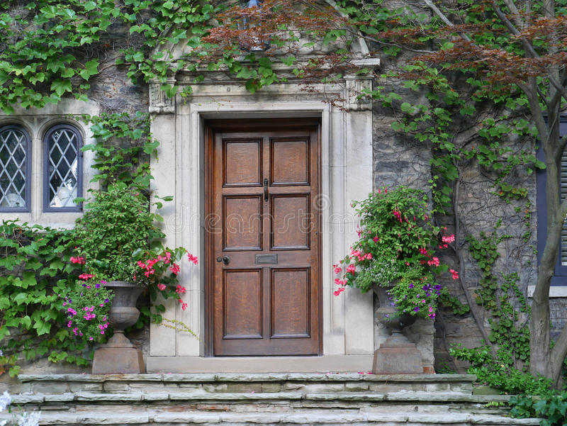 Wooden front door of house with ivy stock photography