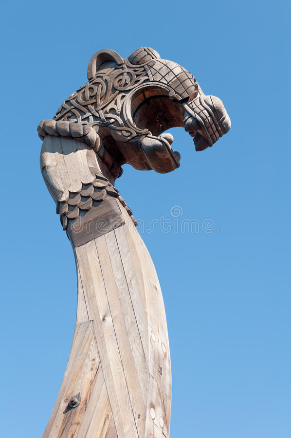 Download Wooden Front Part Of The Ancient Viking Ship Stock Image