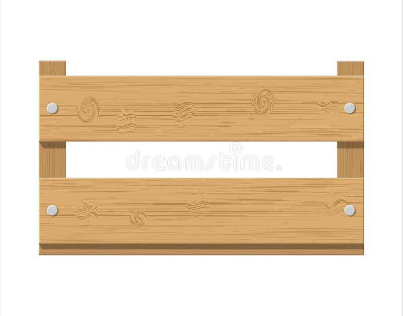 Wooden fruit box. Product drawer front view. Wooden carte for transportation and storage food. Vector illustration in flat style stock illustration