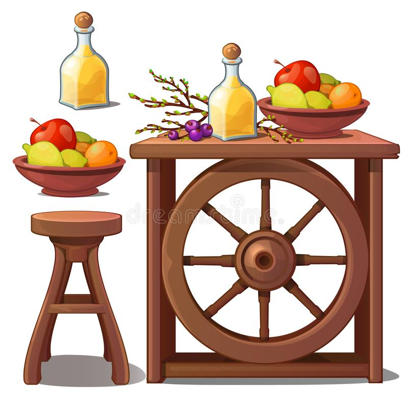 Wooden furniture in country style, liqueur and fruits. Vector Illustration in cartoon style isolated on white vector illustration