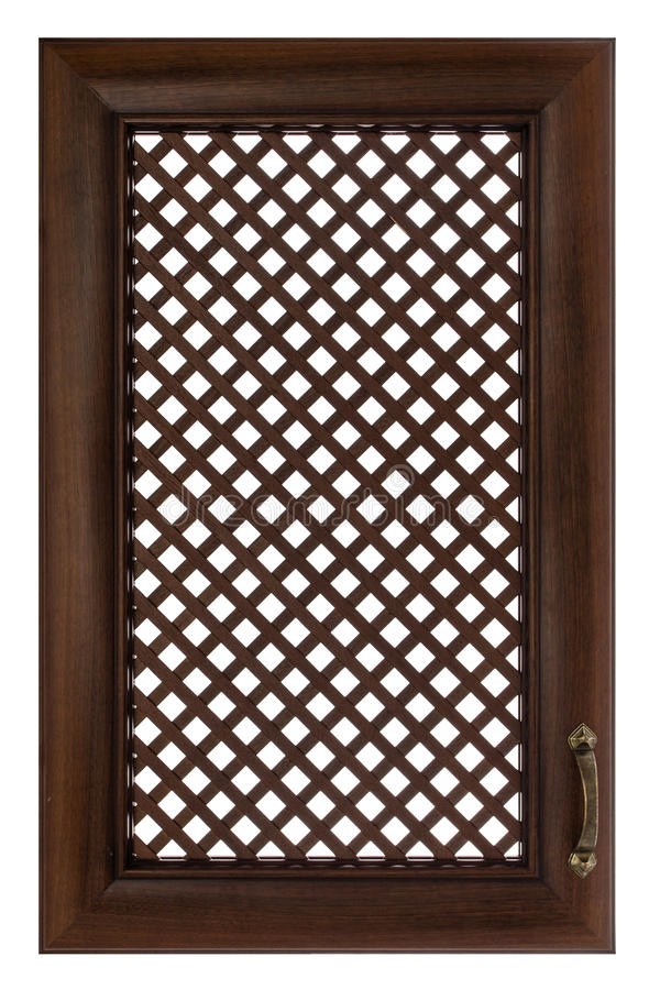 Wooden furniture door with a lattice, isolated on white backgrou. Nd royalty free stock photography