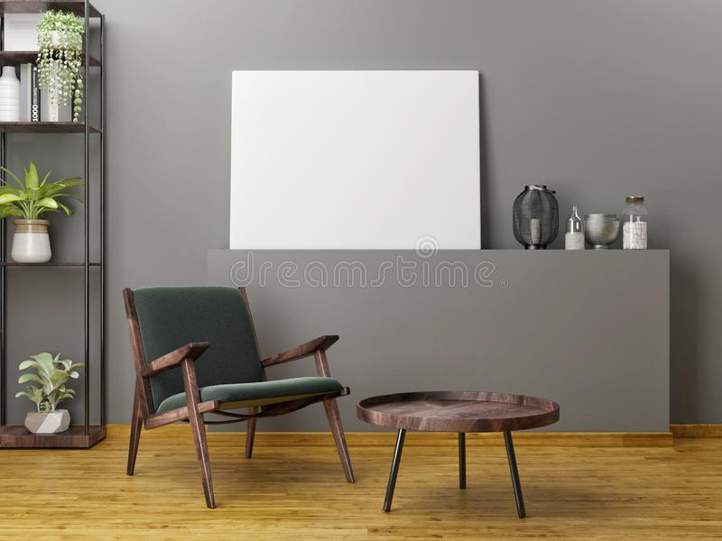 Wooden furniture with mock up poster, stock images