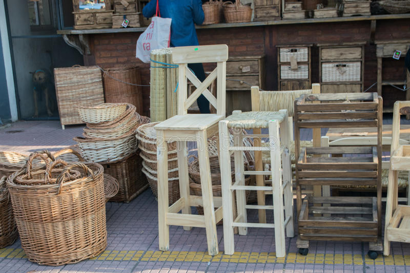 Wooden furniture for sale at Puerto de Frutos in Tigre City, Buenos Aires. Argentina royalty free stock image