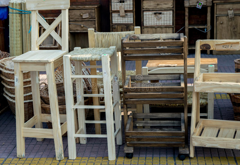 Wooden furniture for sale at Puerto de Frutos in Tigre City, Buenos Aires. Argentina royalty free stock images