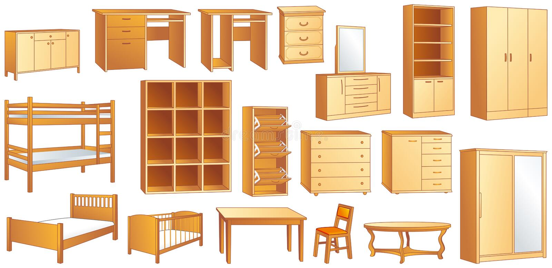 Download Wooden Furniture Set Vector Illustration Stock Vector - Illustration of classical, carpenter: 31023412