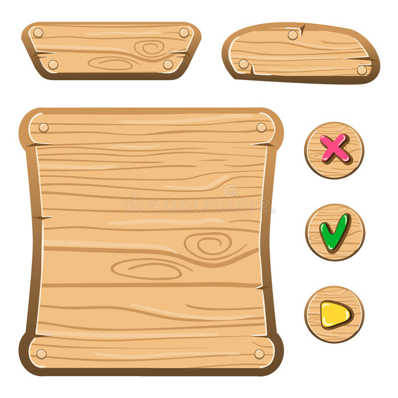 Wooden game assets-4. Wooden assets for game. Interface game illustration stock illustration
