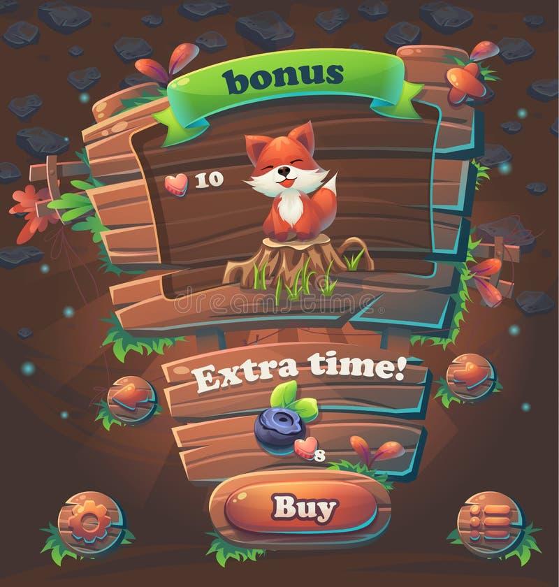 Wooden game user interface bonus window. Vector illustration stock illustration