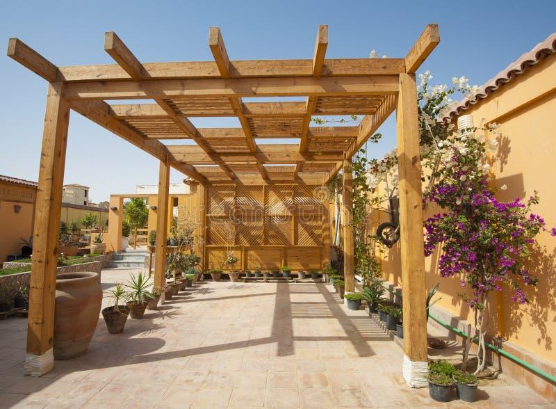 Wooden garage in a tropical villa royalty free stock photos