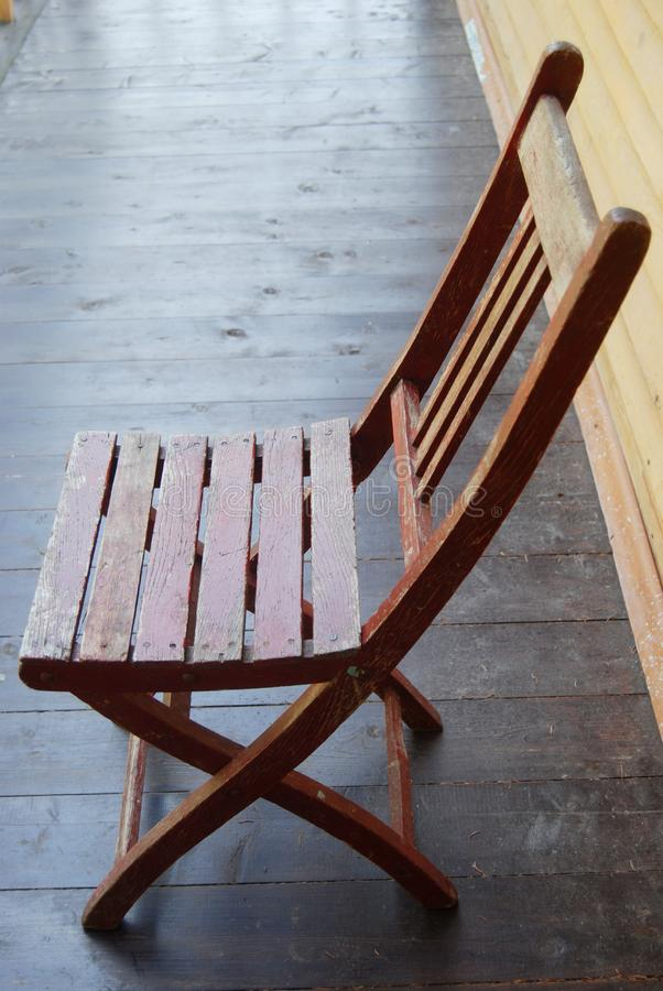 Wooden garden chair stock photography