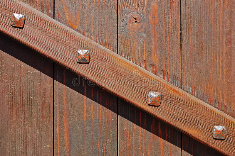 Download Wooden Gate With Brace Fastened With Forged Bolts Stock Image - Image: 11093597
