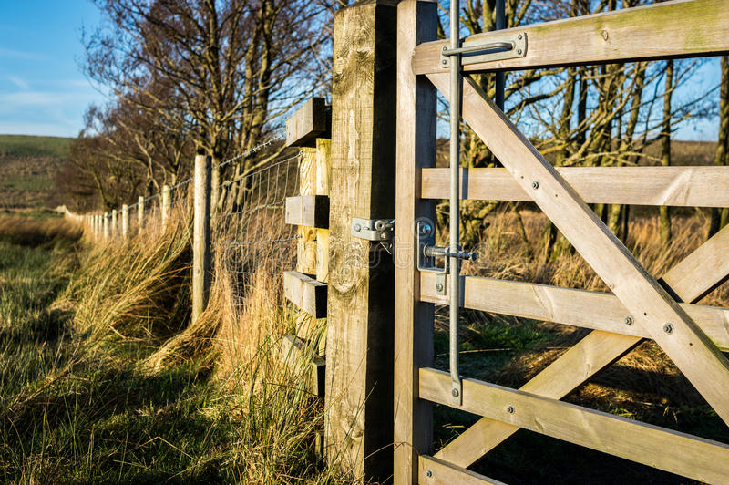 Wooden gate and fence stock image