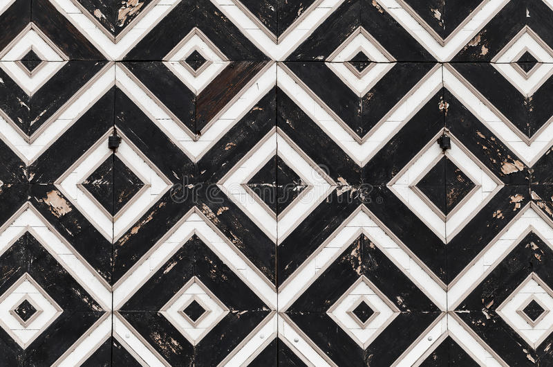 Wooden gate fragment with geometric pattern royalty free stock photography