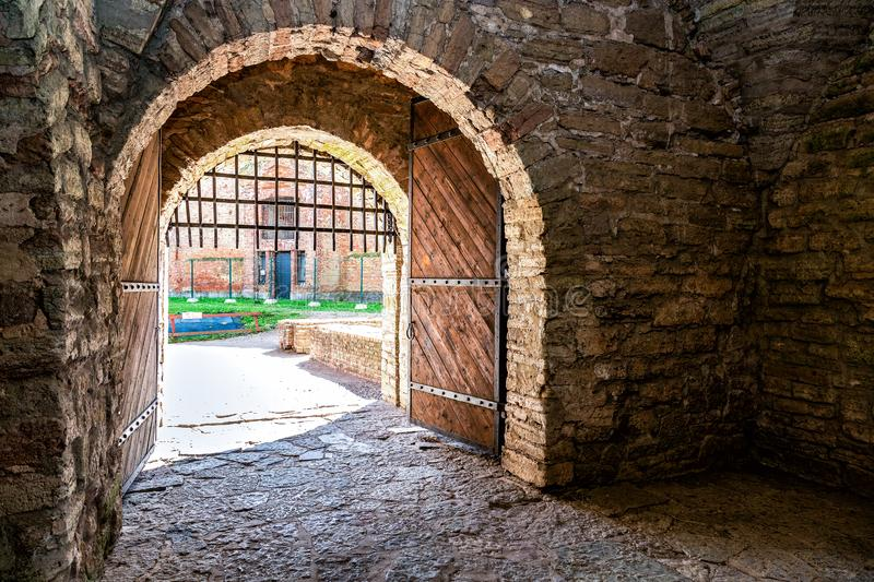 Wooden gate in medieval Oreshek fortress. Is an ancient Russian fortress. Shlisselburg Fortress near the St. Petersburg, Russia royalty free stock image